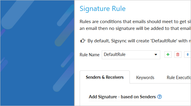 Create, manage Signature Rules