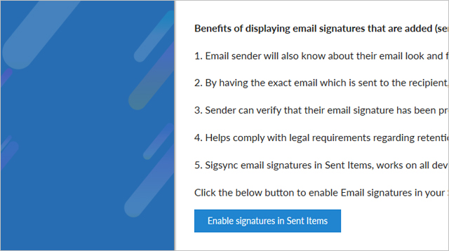 Add email signature in sent emails