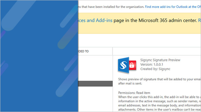 Sigsync Signature Preview Outlook Add-in Admin Installation